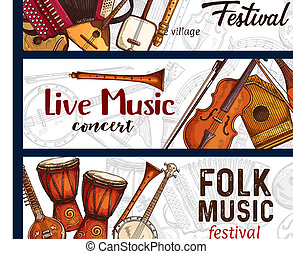 Folk music festival. Musical instruments sketch - Folk music...