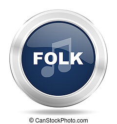 folk music icon, dark blue round metallic internet button, web and mobile app illustration
