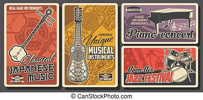 folk-music, instrumenten, jazz muziek, affiches, ouderwetse