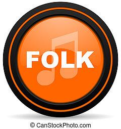 folk music orange glossy web icon on white background