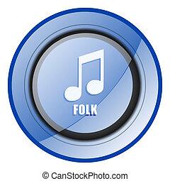 Folk music round blue glossy web design icon isolated on white background