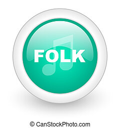 folk music round glossy web icon on white background
