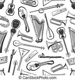 folk-music, seamless, muziek, model, instrumenten, classieke
