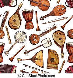 Folk musical instruments seamless pattern - Seamless pattern...