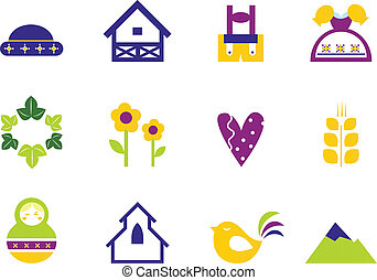 Folk, nature and traditional design icons and ornament elements