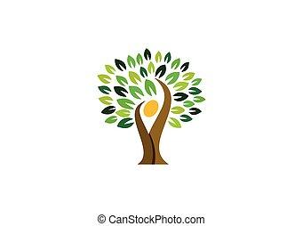 folk, naturlig, natur, wellness, logo, symbol, logo, konstruktion, sundhed, træ, ikon, vektor