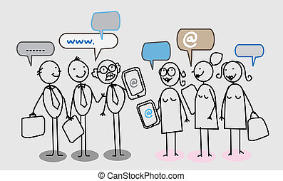 folk, netværk, firma, sociale
