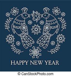 FOLK NEW YEAR Ethnic Bird Doodle Vector Illustration Set
