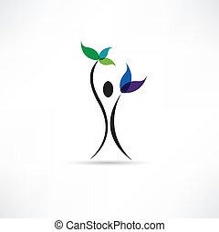 folk, og, plante, ikon
