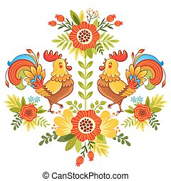 Folk ornament with flowers, traditional pattern.