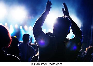 folk, på, musik koncert