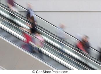 folk, på, rulltrappa