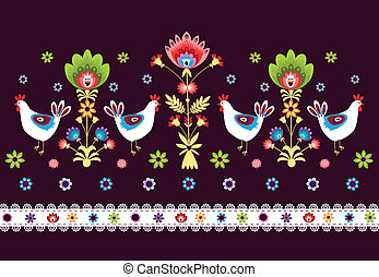 Folk Pattern With Birds Dark