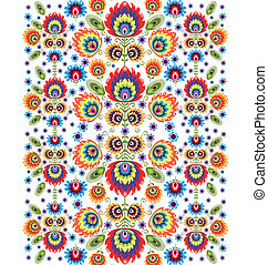 Folk Pattern With Flowers Three - polish folk ornamental...