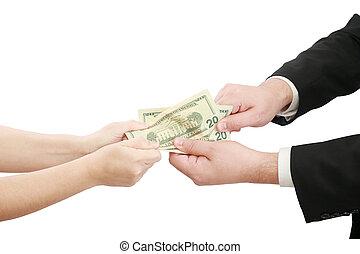 folk, pengar, affär, över, oss, någon, stridande