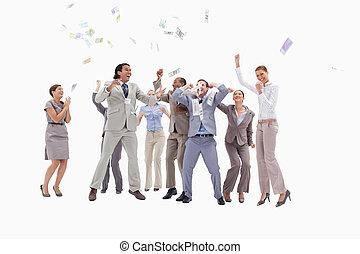 folk, penge, meget, fald, himmel, entusiast