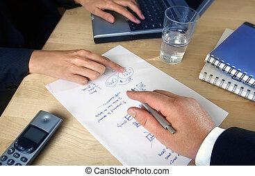 folk, planerande, affär
