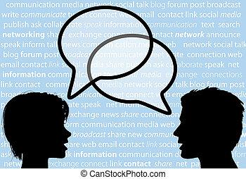 folk, prata, dela, social, nätverk, anförande, bubblar