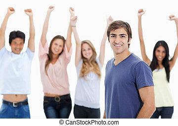 folk, resning, man, deras, le, bak, vapen, honom