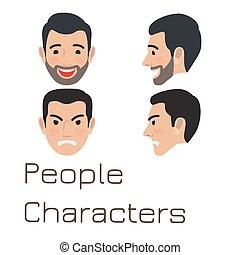 folk, sørgelige, characters., avatar, mand, glade
