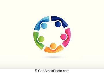 folk, samarbejde, hold, hjælper, hånd ind hånd, logo