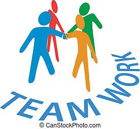folk, samarbete, förena, teamwork, räcker