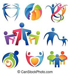 folk, sammanhängande, symboler