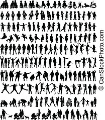 folk, silhouettes, blanda, vektor, arbete