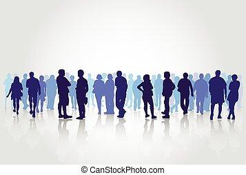 folk, silhouettes, utomhus