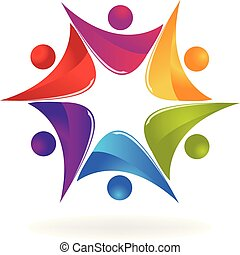folk, skapande, teamwork, nöje, logo, ikon