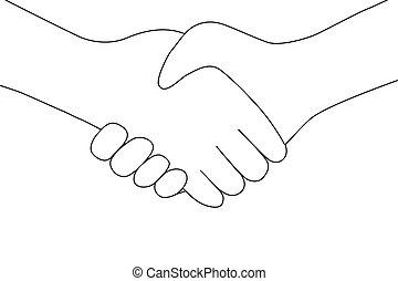 folk, skriva in, handslag, mellan, transaktion, ikon, två