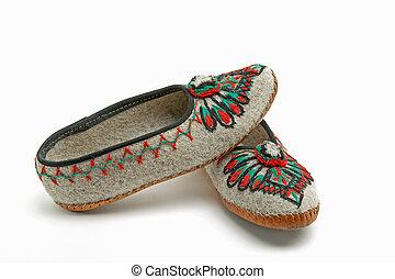 folk slippers from the Polish highlanders - slippers...