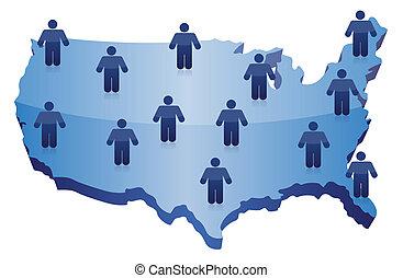 folk, social, nätverk, kommunikation