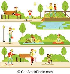 folk, spenderande, tid, i park, in, sommar, sätta, av, illustrationer