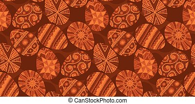 Folk style easter egg seamless pattern in natural colors - ...