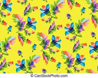 Folk style floral seamless pattern.