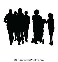 folk, svart, illustration, silhuett