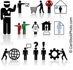folk, symbol, ikonen, -, existenser, mänsklig