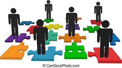 folk, symbol, jigsaw stykke, stand, hold, opgave