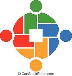 folk, teamwork, 4, logo, gruppe
