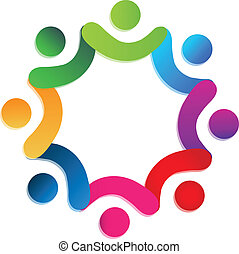 folk, teamwork, almissen, logo, vektor