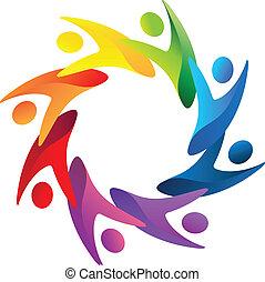 folk, teamwork, logo, hjælper, vektor