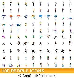 folk, tecknad film, 100, ikonen, sätta, stil
