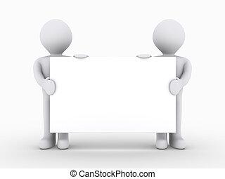 folk, to, tegn, lavtliggende, holde, blank