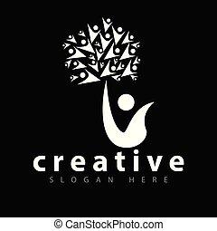 folk, træ, vektor, skabelon, logo, ikon