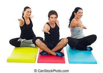 folk, tre, yoga, grupp