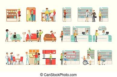 folk, udkårer, og, købe, furniture, ind, shop, shoppers, købe, narkotiske midler, vitaminer, og, medikamenter, ind, apotek, vektor, illustrationer, på, en, hvid baggrund