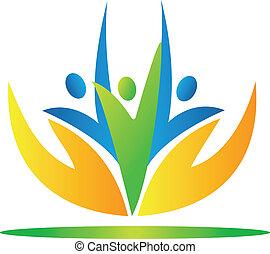 folk, vecto, indtagelse, hænder, logo, omsorg