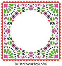 Folk vector greeting card, Mexican style wedding or party invitation, floral pink and green design