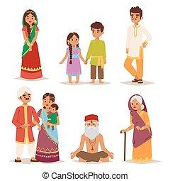 folk., vektor, indisk, illustration